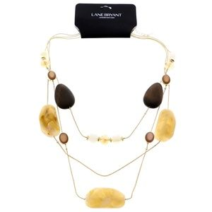 Lane Bryant Fashion-Necklace Gold & Brown NWT